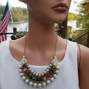 Formal Faux Pearl Rainbow Jeweled Bib Necklace